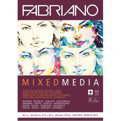 Склейка для змішаних технік Mixed Media А5, 250г/м2, 40л, Fabriano