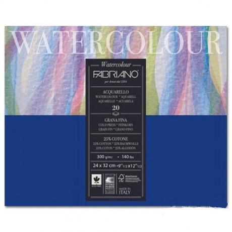 Альбом для акварели Watercolour 24х32 см 300 г / м.кв. 20 листов склейка с 4 сторон Fabriano