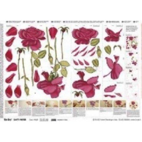 Бумага для 3D-декупажа, Красные розы, 50*70см, 99029