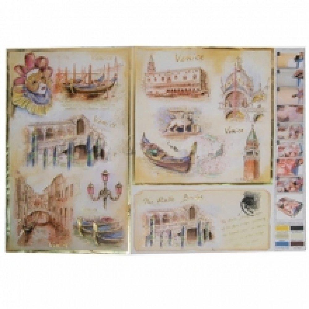 Бумага для декупажа с метал. еффектом, Венеция, 50*70см, 99242
