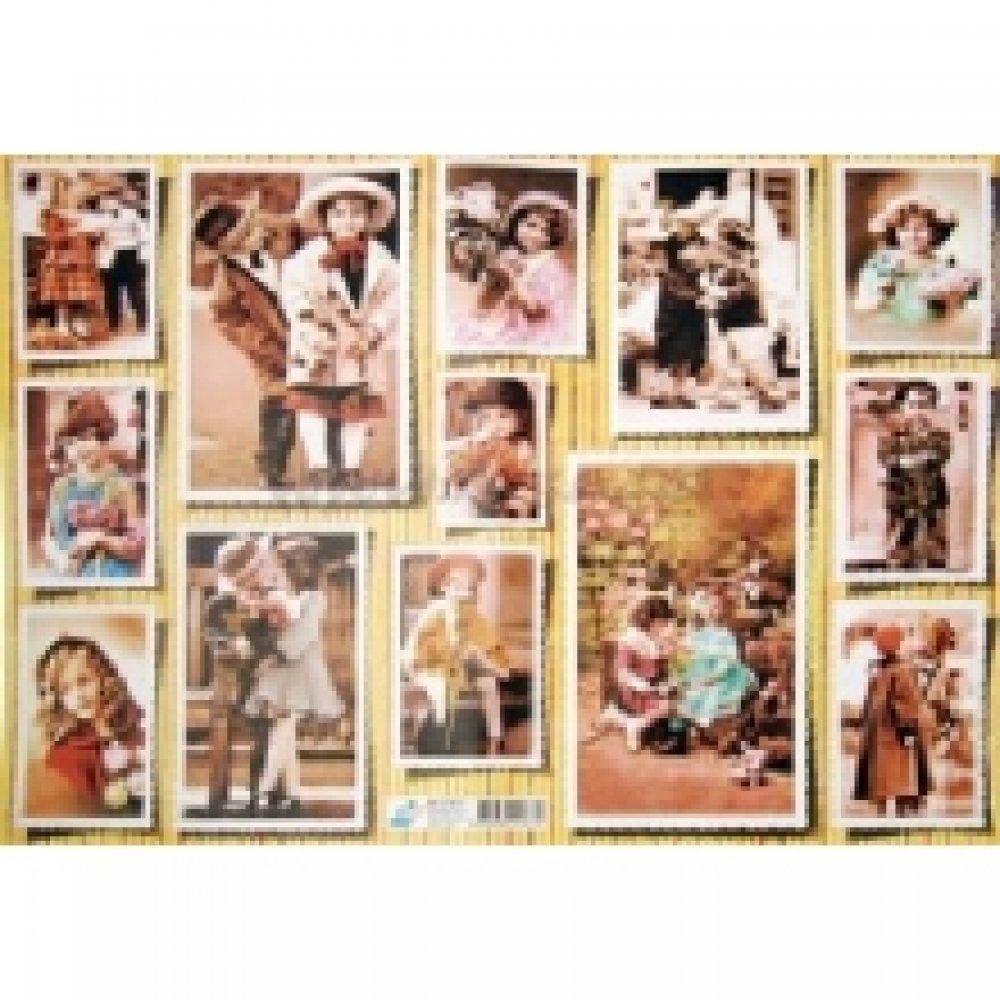 Бумага для декупажа, Винтажные дети, 40*30см, 60г/м2, 01877