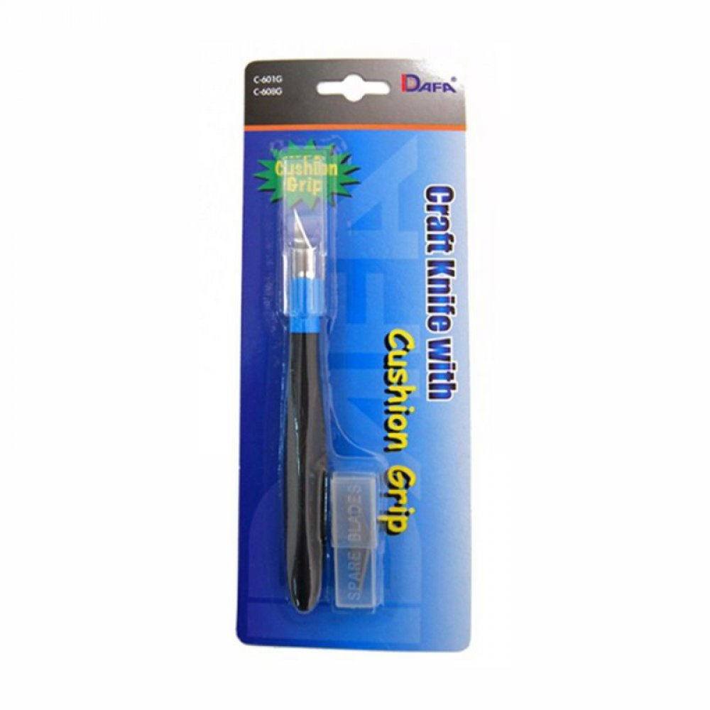 Ніж макетний, C-601GS, резинова ручка, 5 змінних лез,  DAFA