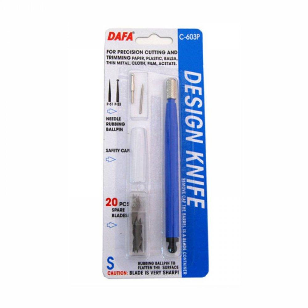 Ніж макетний С-603Р, пластикова ручка, 20 змінних лез + 2 на