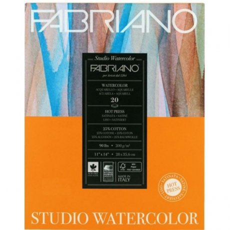 Альбом для акварели Studio 28х35,6 см 200 г / м.кв. 20 листов Fabriano