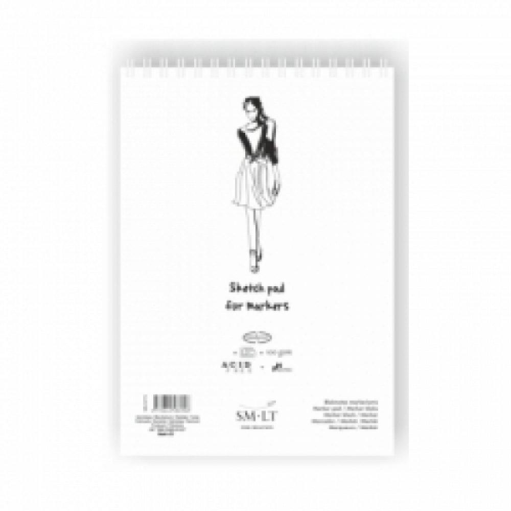 Альбом для маркеров на спирали AUTHENTIC А4, 100г / м2, 50л, белый цвет, SMILTAINIS