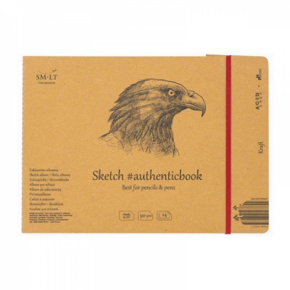 Альбом для эскизов AUTHENTIC (Kraft) А5 (24,5 * 17,6см), 90г / м2, 24л, коричневый цвет, SMILTAINIS