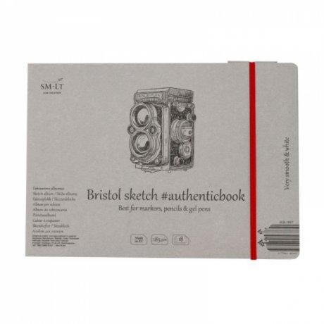 Альбом для эскизов AUTHENTIC (Bristol) А5 (24,5 * 17,6см), 185г / м2, 18л, белая и гладкая бумага, SMILTAINIS