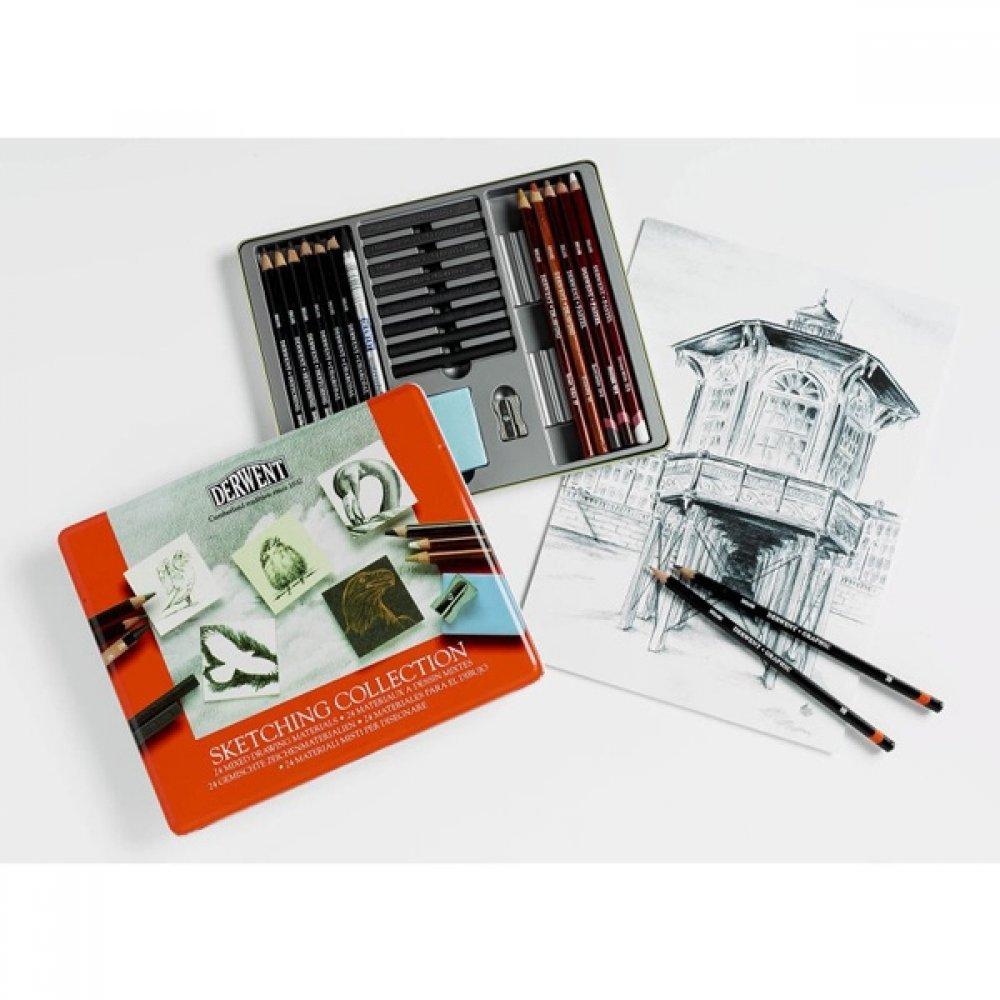 Набір матеріалів для графіки Sketching Collection , 24 предмети, в метал. коробці, Derwent