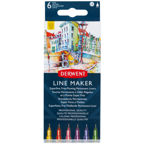 Набір лінерів Line Maker Colour, 6шт, кольорові, Derwent